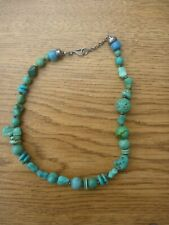 Vintage Chinese Carved Animal Turquoise Nuggets Silver Beads Necklace Choker