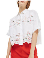 TOP SHOP Kady Embroidered Eyelet Shirt Size US 2