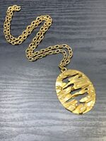 "Vintage Trifari Abstract pendant necklace Silver Gold  Chunky Chain 25"" inches"