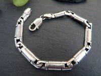 Starkes 925 Sterling Silber Armband Verschiedene Elemente Schlicht Unisex Breit