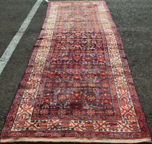 3'6 x 10'4 Semi Antique Kurdish Tribal Handmade Wool Runner Oriental Rug 4 x 10