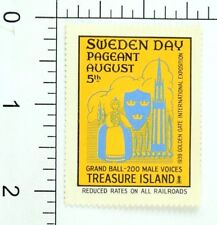 1939 Sweden Day Pageant Grand Ball Treasure Island Expo Poster Stamp 1 F41