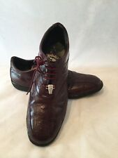 Men's Studio Belvedere Burgundy Ostrich & Calfskin Casual Shoes-sz. 13B