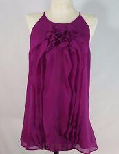 Ann Taylor Size Medium Tank Top Sleeveless Silk Cami Ruffle High Neck Blouse