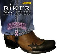 """Harley-Davidson Boots 6"""" Breast Cancer Motorcycle Boot Straps"""