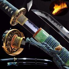 Katana T10 Steel Clay Tempered Candle Flame Grain Blade Sharp Samurai Sword #456