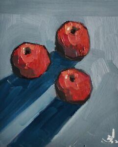 RED APPLES STILL LIFE OIL PAINTING BY ARTIST VIVEK MANDALIA FRUIT ART 12 x 10
