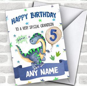 Customised Boys Birthday Card Dinosaur 1St 2Nd 3Rd 4Th 5Th 6Th Grandson