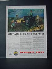 1943 Republic Steel Farm Tractor Home Front WW2 War Vintage Print Ad 10923