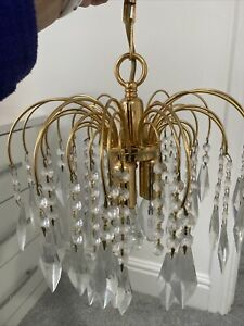 Crystal Chandelier Gold Ceiling Light Gorgeous 3 Bulb