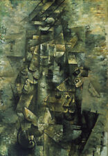 HD Repro For Georges Braque Man with a Guitar Art Fabric Oil Painting Wall Decor