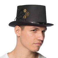Adult Steampunk Top Hat Black Victorian Gears Cogs Halloween Costume Accessory
