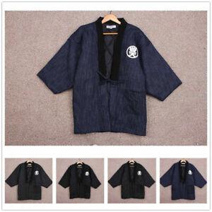 Men Women Japanese Hanten Winter Warm Wadded Cotton Kimono Haori Coat Outterwear