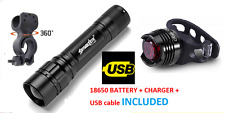 Powerful zoom front and rear laser lights set - bright light LED red torch bike