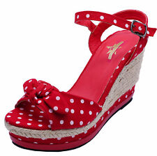 LADIES RED POLKA DOT ROCKABILLY OPEN-TOE COMFY WEDGES SANDALS SHOES SIZES 3-8
