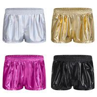 Damen Lackleder Kurze Hose Stretch Shorts Hot Pants Glanz Lack-Optik Sportshorts