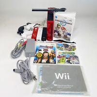 Red Nintendo Wii Mario Kart Bundle Console 3 Controllers/nunchucks 3 Games Deca