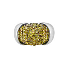 Fine 4.20ct Natural Fancy Yellow Diamonds Engagement Ring 18K Solid Gold Round
