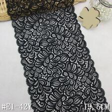 """1 Yard Pretty Stretch  Delicate Scallop Edge Lace Trim Black  7 3/4"""" Wide"""