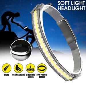 COB+LED Headlamp Headlight Torch Flashlight Work Light Bar Head Band Lamp USB