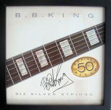 "BB King Signed Six Silver Strings 12"" LP FRAMED JSA"