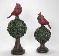 Faux Mistletoe Topiary Finial with Cardinals Set of 2 French Country Style