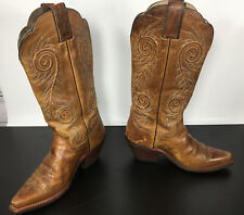 Justin L4332 Women's Leather Snip Toe Western Cowgirl Riding Boots Tan 6 R
