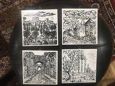 Lot Of 4 Rhodes Ceramic Tiles Classic European Landscapes Landmarks