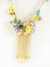 NWT Auth Betsey Johnson 'Spring Ahead' Flower & Hummingbird Long Fringe Necklace