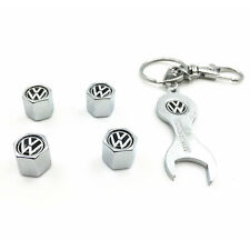 4pcs Auto Car Wheel Tire Tyre Valve Stems Caps Air Cover +Wrench Keychain for VW
