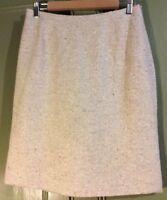 Kaliko Uk10 Eu36 Linen Silk Cream Lined Knee Length Skirt Summer Career Business