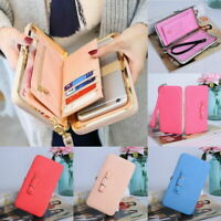 Ladies Long Handbag Women Purse Tickets Coin Card Holder Leather Wallet Phone