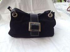 Handtasche Leder  neu und unbenutzt schwarz Baguettetasche Echtleder Wildleder
