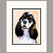 Cocker Spaniel Parti Color Original Print 8x10 Matted to 11x14