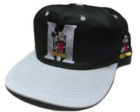 Vintage 90's Mickey Mouse Unlimited Snapback Hat Black silver Disney Cap EUC
