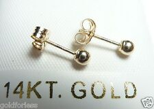 14K Pure Gold 3MM Ball Earrings & Butterfly Screwbacks ....Stamped & Gauranteed!
