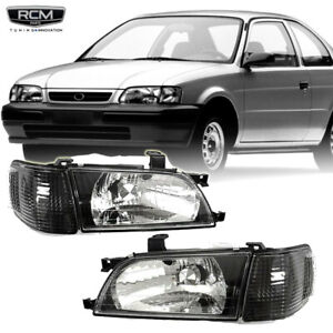 Fits For 98 99 Toyota Tercel Headlight Clear Black Headlamp LH RH Set w/Corner