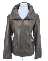 Chico's Bronze Brown Metallic Full Zip Faux Leather Moto Jacket Sz 2 Large 12