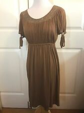 Anthropologie Ella Moss Cotton/Modal Brown Gathered Dress W/Lace Sleeve Ties SzS