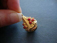 18K 750 YELLOW GOLD RED CORAL and AMBER COLORED STONE CHARM or PENDANT 7.2 GRAMS