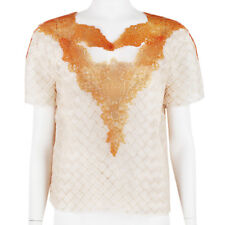 Christopher Kane Nude Silk Basket Weave Apricot Rubberised Lace Top UK10 IT42