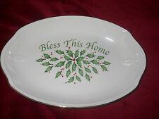 Lenox Christmas Bless This Home Tray or Candy Dish with Holly Design Nib