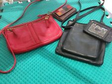 Fossil Lot of Two Leather Cross Body Handbags with Small Wallet