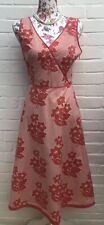 Boden Dress 14L Pink White Fit Flare Pure Cotton Summer Midi Floral Holiday