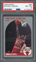 Michael Jordan Chicago Bulls 1990 Hoops Basketball Card #65 Graded PSA 8