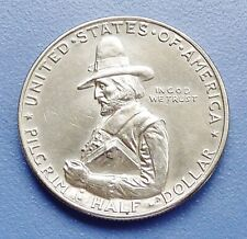 1920 PILGRIM ~ COMMEMORATIVE SILVER HALF DOLLAR ~ ALMOST UNCIRCULATED - CLEANED