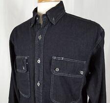 Work N' Sport Western Denim Jean LS Work Shirt Jacket Button Front Men Medium