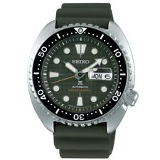 NEW SEIKO PROSPEX DIVERS KING TURTLE RUBBER STRAP GREEN DIAL CYCLOPS DATE SRPE05