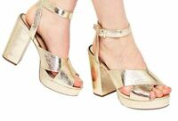 Miss Selfridge Cabaret Platform Sandals Gold UK 3 EU 36 LN14 63