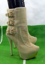"""new Skintone/Gold Stud 5.5""""High Heel 2""""Platform Sexy Ankle Boots Size 7.5"""